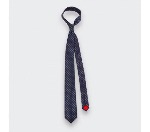 Navy Blue Green Grand Pan Tie - Cinabre Paris