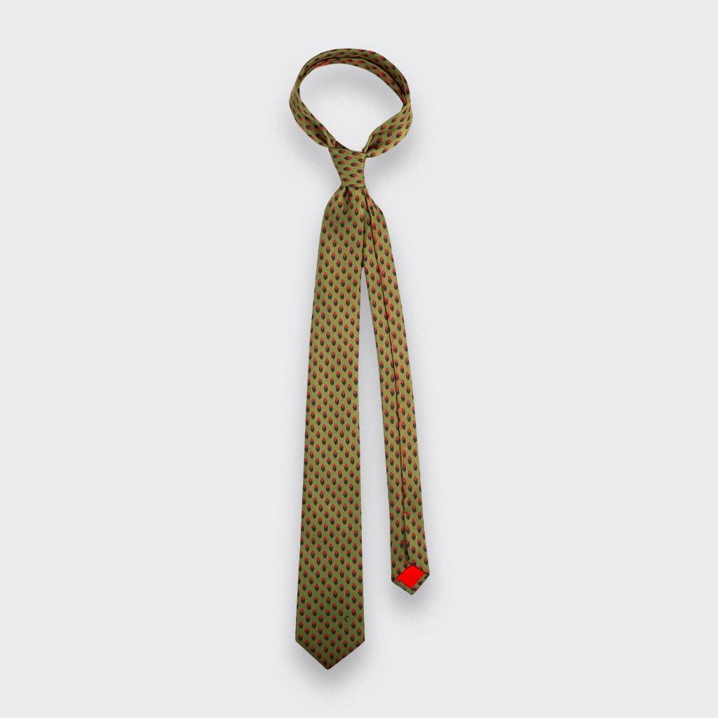 Cravate Grand Pan Vert Moutarde - Cinabre Paris