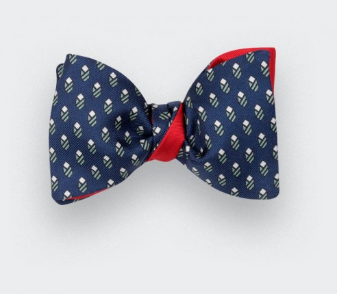 Navy Green Grand Pan Bow tie - Handmade by Cinabre Paris