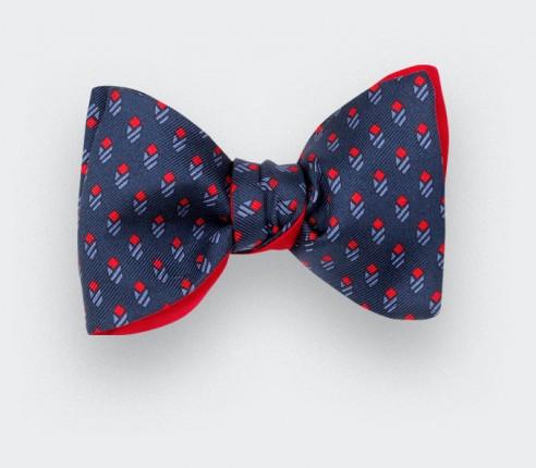 Blue Navy Grand Pan Bow tie - handmade by Cinabre Paris