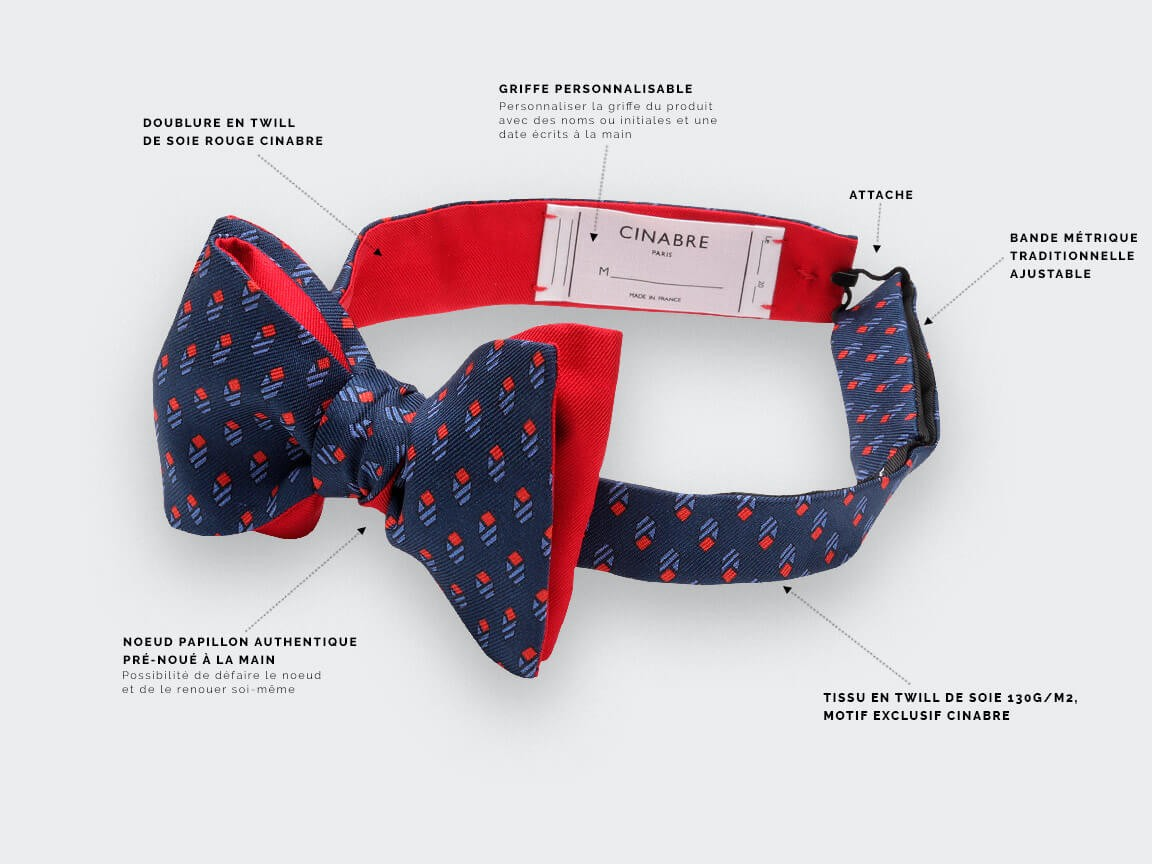 Blue Navy Grand Pan Bow tie - handmade by Cinabre Paris