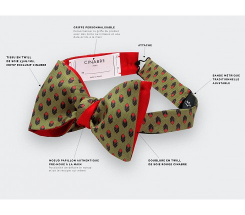 Green Grand Pan bow tie - Handmade by Cinabre Paris