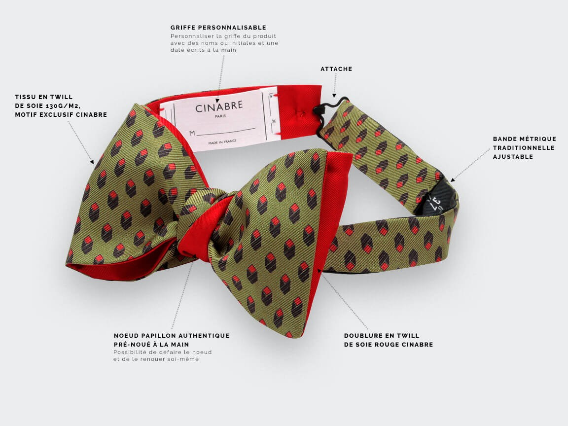 Green Grand Pan bow tie - Handmade by Cinabre Paris