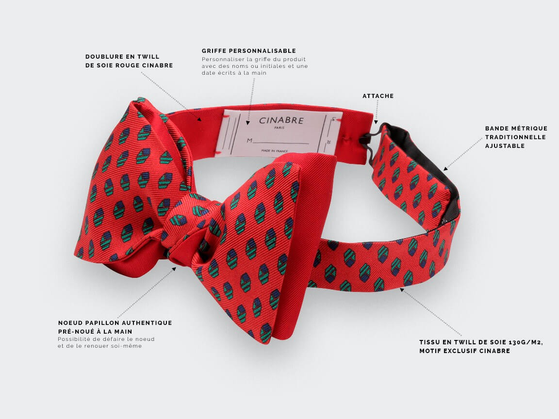 Red Grand Pan Bow tie - Handmade by Cinabre Paris