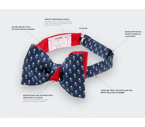 Navy Green Grand Pan Bow tie - Handmade by Cinabre Paris