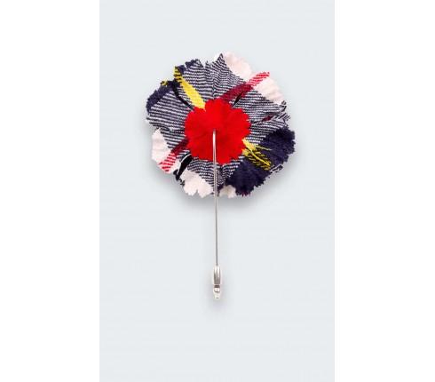 White McRae Tartan Lapel Pin - Handmade by Cinabre Paris