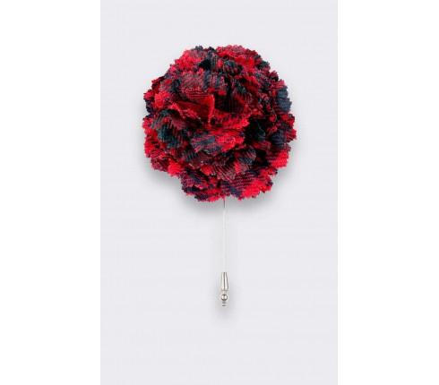 Red Ross Tartan Lapel Pin - Handmade by Cinabre Paris