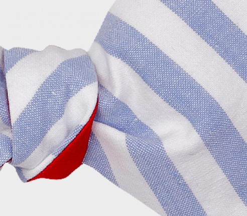 Light Blue Stripe bow tie - Handmade by Cinabre Paris