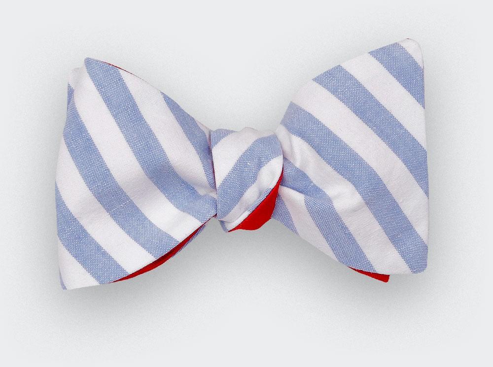 Light Blue Stripe bow tie - Handmade by Cinabre Paris