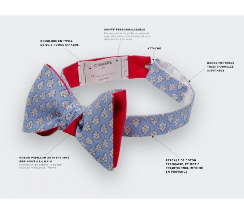 Light Blue Provence Bow Tie - Handmade in France