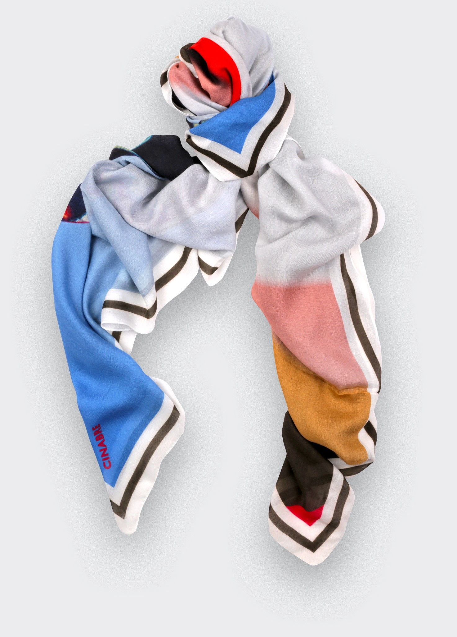 Scarf kaki and blue Cinabre Paris Here they come collection made in France cashmere and modal