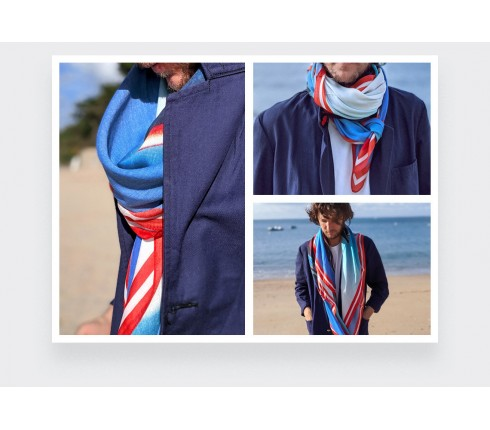 Orange and blue scarf Here they Come cashmere and modal by Cinabre Paris