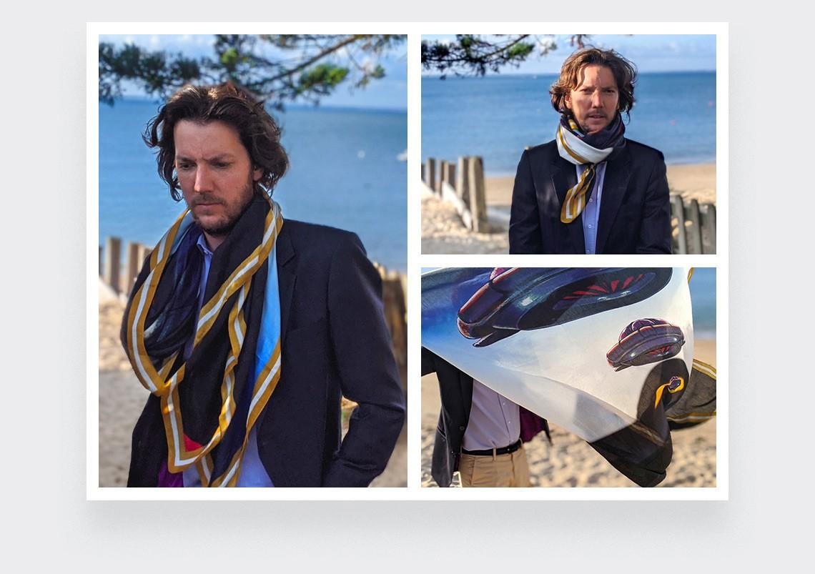 Foulard bleu et moutarde en cachemire modal collection Ils Arrivent made in France par Cinabre Paris