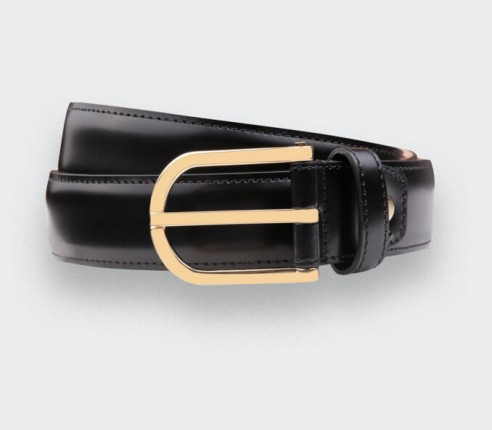 Ceinture en cuir noir Cinabre, Made in France