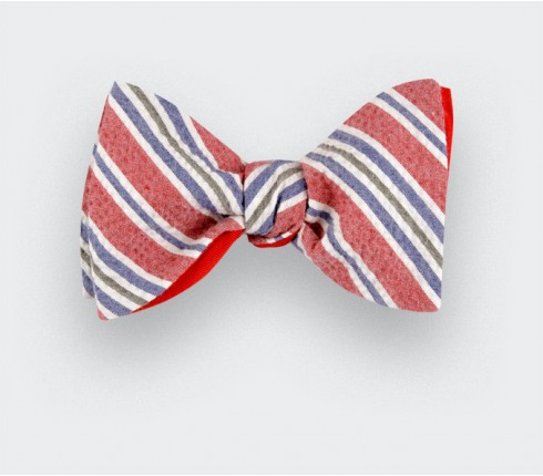 Striped seersucker bow tie - Handmade in France - CINABRE Paris