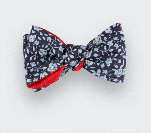Blue floral bow tie - cotton and silk - CINABRE Paris
