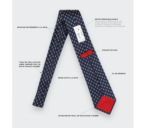 Cravate Grand Pan Bleu - Cinabre Paris