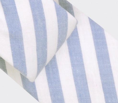 cravate rayures ciel - coton, lin et soie - Cinabre Paris