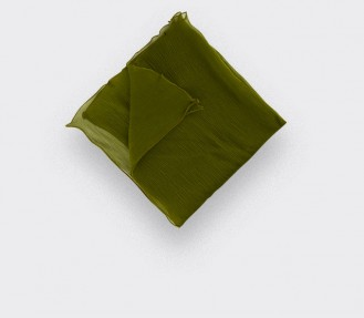 Khaki chiffon pocket square - Handmade - Cinabre Paris