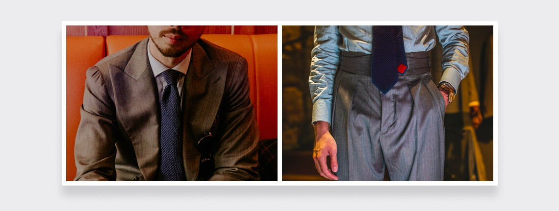 Seersucker tie by Cinabre for Jamais Vulgaire Camaieu Navy Blue diptyque