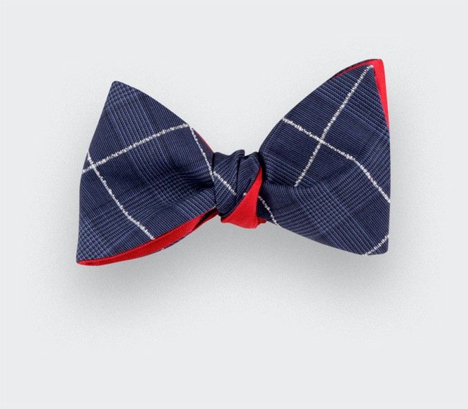 White Stripes Prince of Wales Bow Tie - Cinabre Paris - Handmade in France