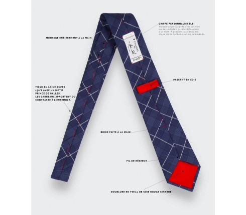 White Stripes Prince of Wales Tie - Cinabre Paris - Handmade in France