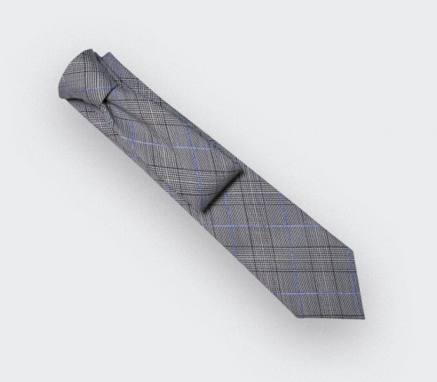 Blue Stripes Prince of Wales Tie - Cinabre Paris - Handmade in France