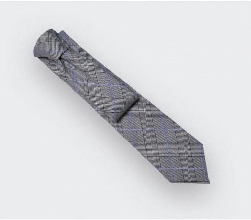 Blue Stripes Prince of Wales Tie - Cinabre Paris - Handmade in France