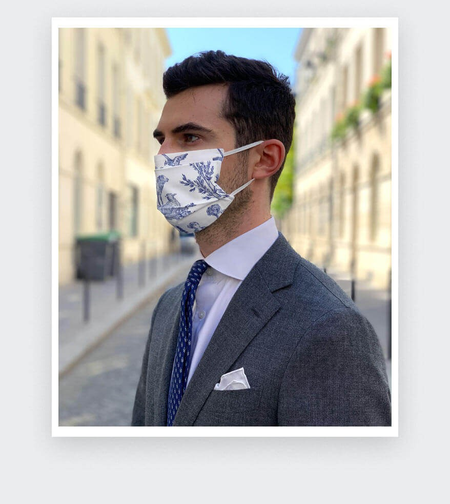 Cinabre Toile de Jouy Face Mask made in France