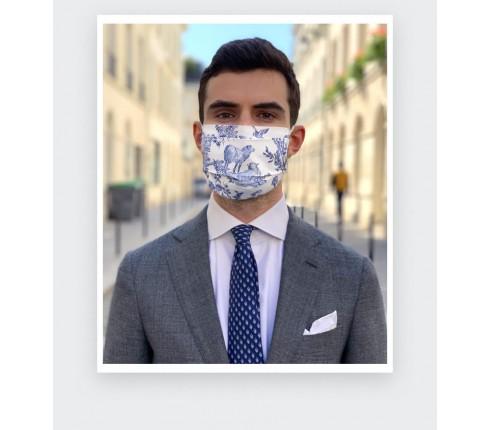 Masque Toile de Jouy Cinabre fabriqué en France