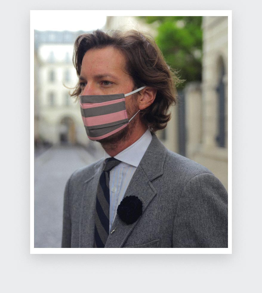 Pink Striped Face Mask - Made in France -