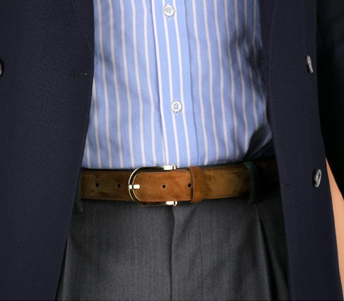 Light brown leather suede belt, Made in France