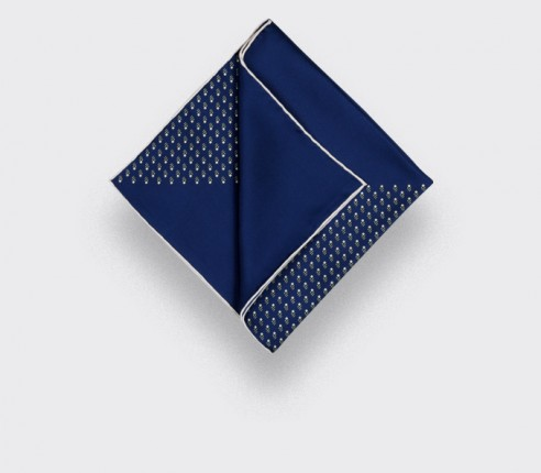 silk pocket square - navy blue grey grand pan - cinabre paris