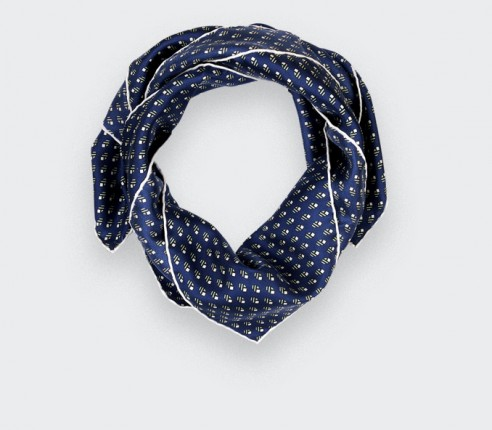Bandana soie Grand Pan marine gris - Made in France - Cinabre Paris
