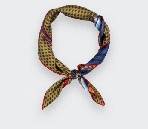 Bandana soie Moutarde - Made in France - Cinabre Paris