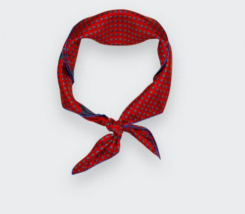Bandana soie Grand Pan rouge - Made in France - Cinabre Paris