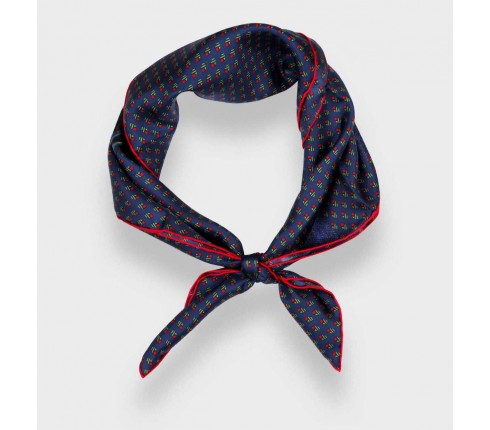 Navy blue green Grand Pan Bandana - Made in France - Cinabre Paris