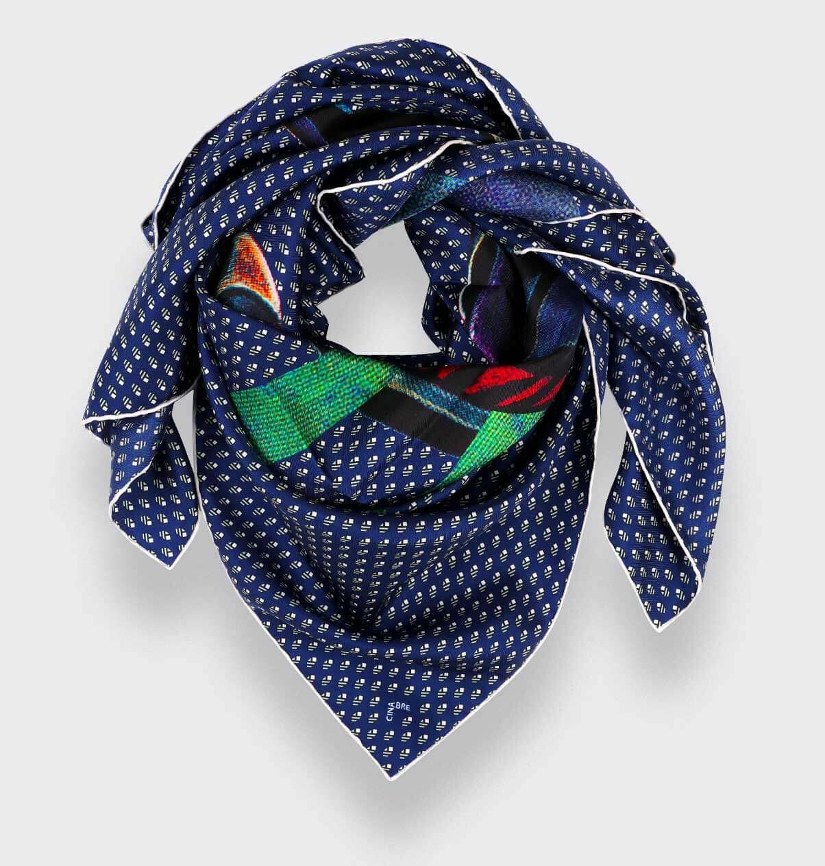 Navy Blue Grey Grand Pan Scarf 90 - Made in France - Cinabre Paris