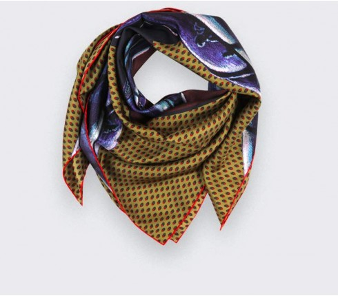 Mustard Grand Pan Scarf 90 - Made in France - Cinabre Paris