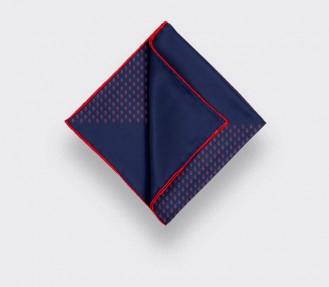 Navy Blue Red Grand Pan Pocket Square - Cinabre Paris