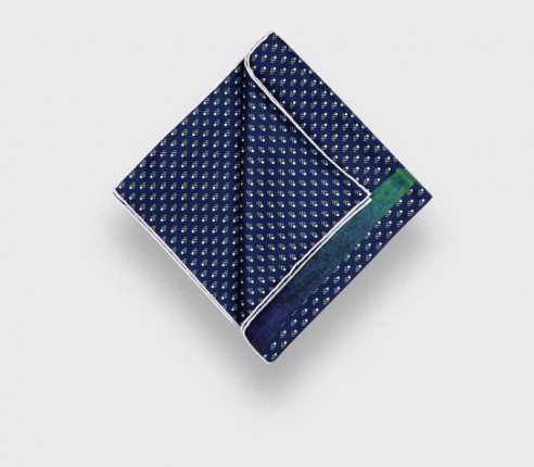 Flying Saucer Navy Blue Grey Grand Pan Pocket Square - Cinabre Paris