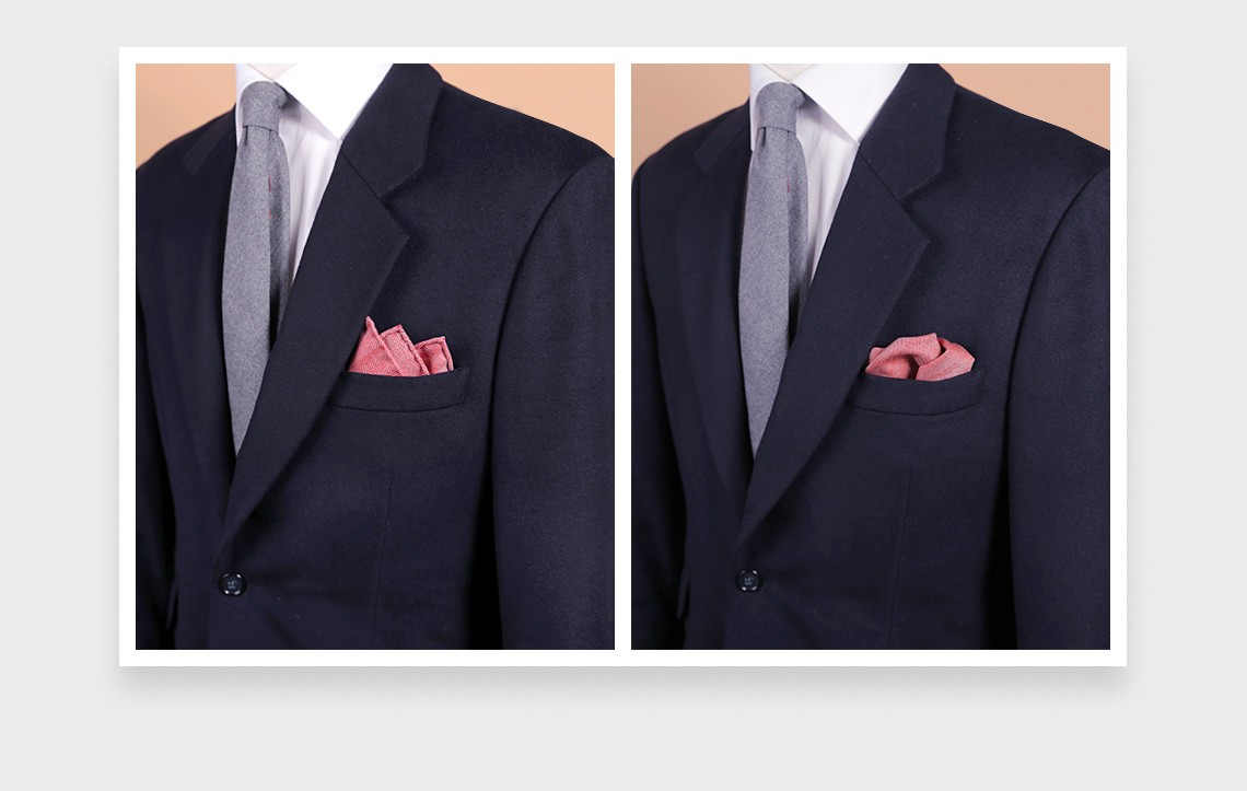 CINABRE Paris - Wool Pocket Square - Red Herringbone  - Hand Made
