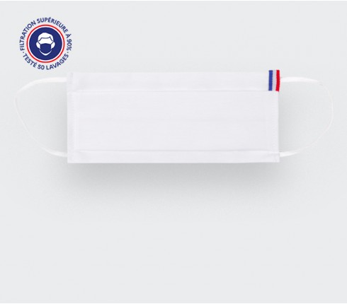 White Face Mask Cinabre with French flag