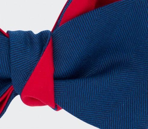 Bow Tie blue herringbone - wool and silk - cinabre paris