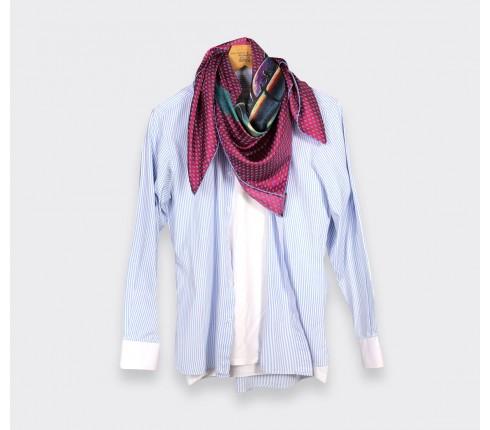 Scarf 90 square - silk - Fuchsia Grand Pan - Made in France - Cinabre Paris