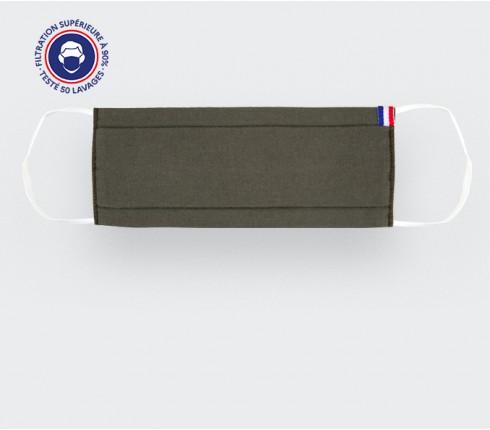 Masque en tissu kaki lavable Catégorie 1 - made in France