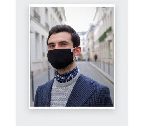 Masque en tissu noir lavable Catégorie 1 - Made in France