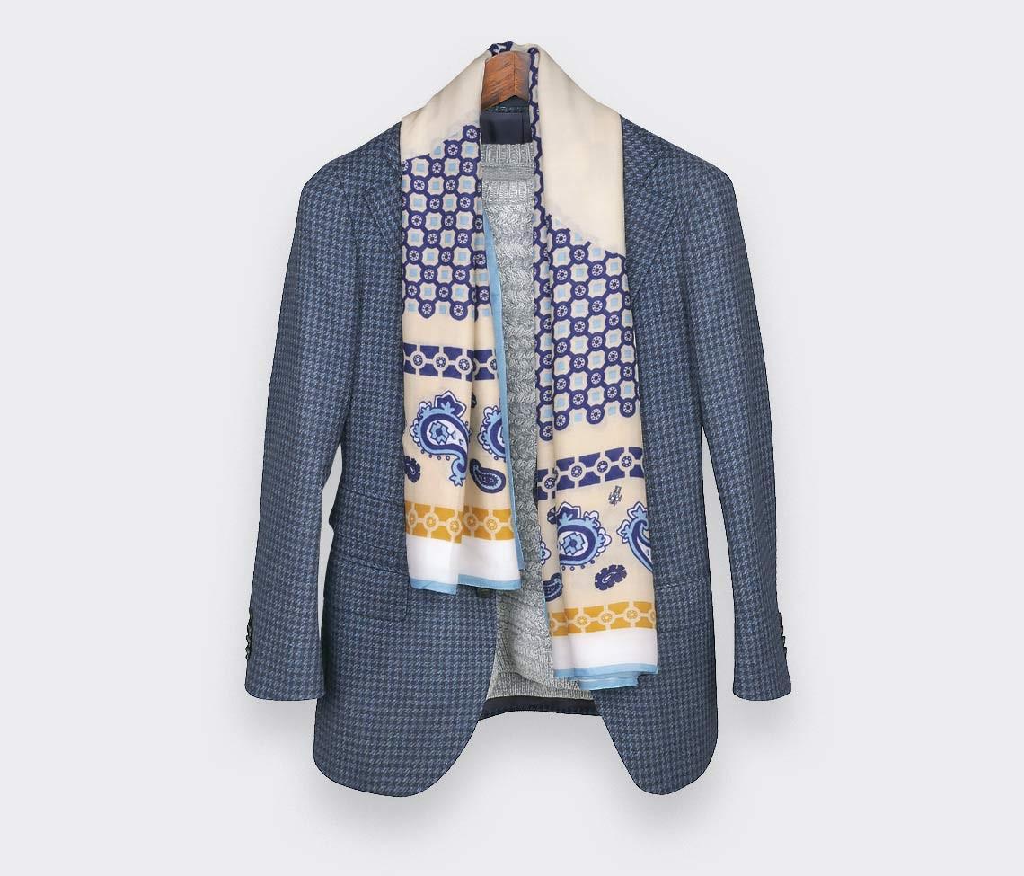 Beige Paris x Los Angeles cashmere and modal large scarf