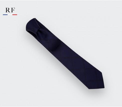 Navy blue shades squares Tie - wool - Cinabre Paris