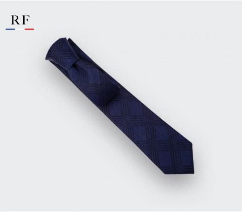 Cravate Réseaux Marine - laine - Cinabre Paris